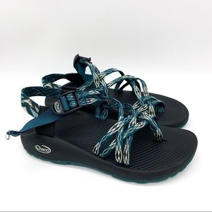 CHACO teal green and cream double strap sandals, 8